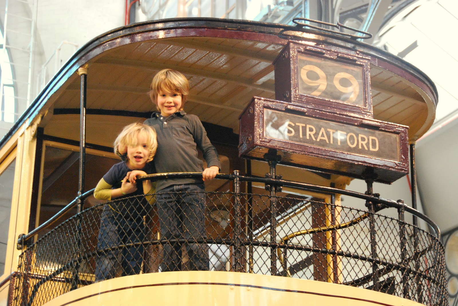 boys at the London Transport museum