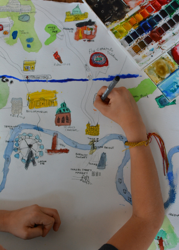 Easton drawing map of London