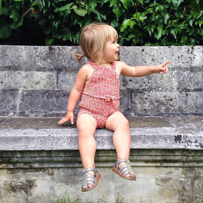 Misha and PUff strawberry sunsuit on Marlow