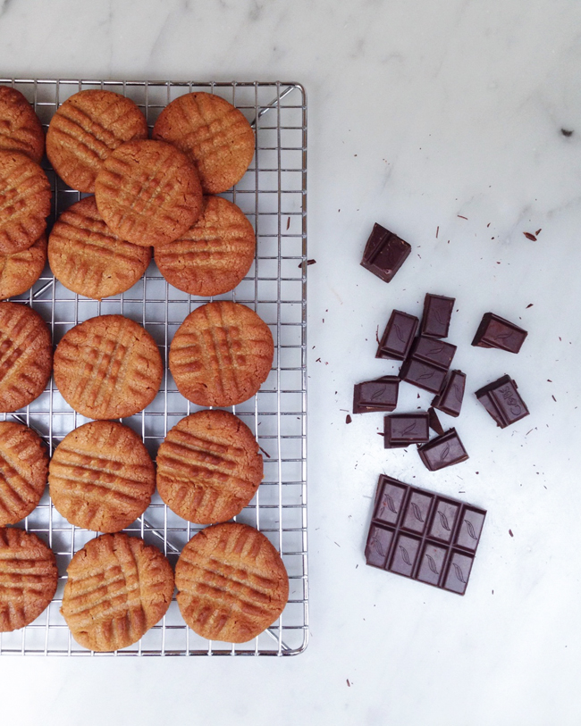 peanut butter cookies and chocolate