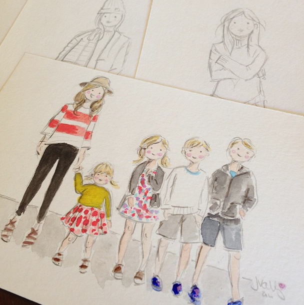 sophie and lili custom watercolor portraits