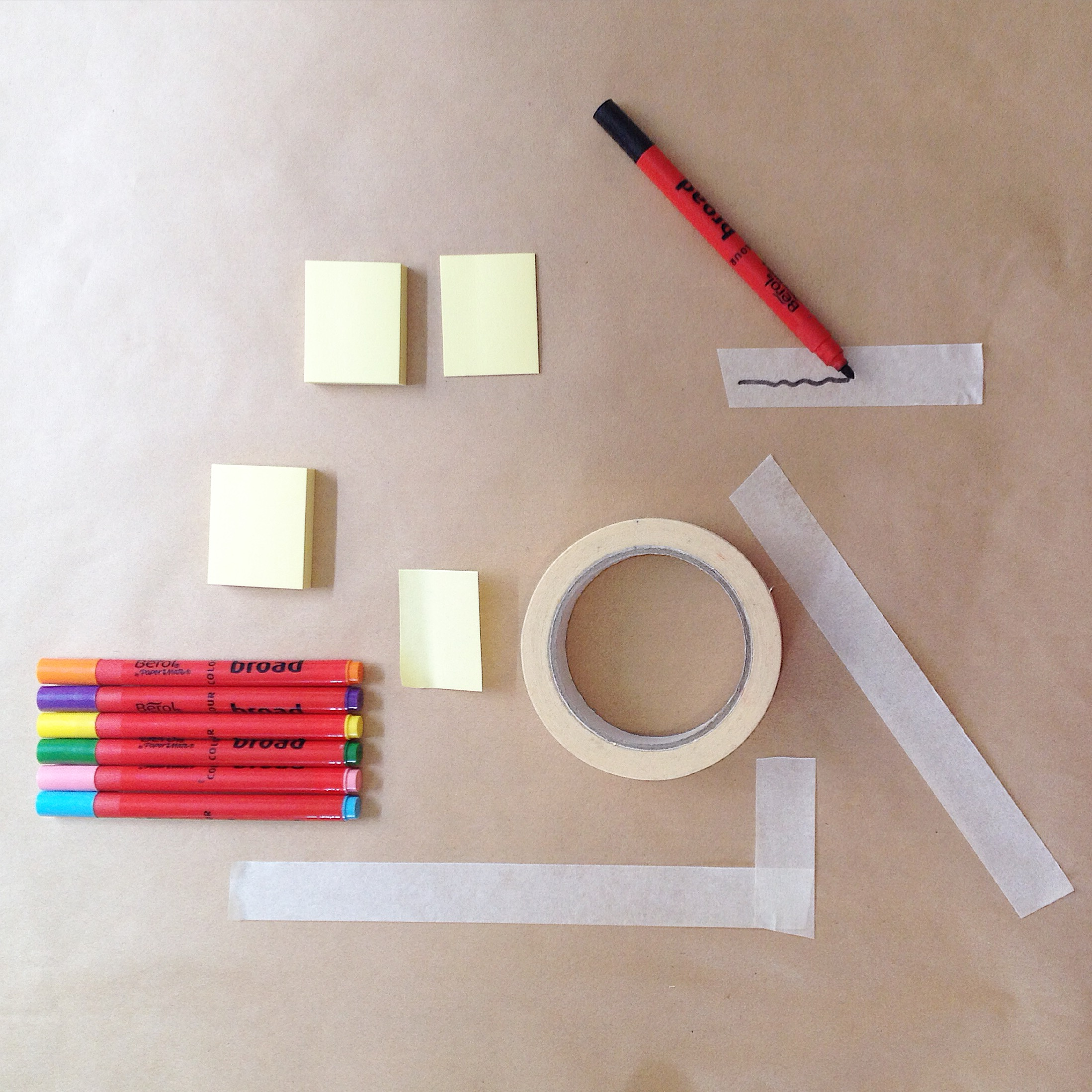 3. Post-it-notes, pens, masking tape