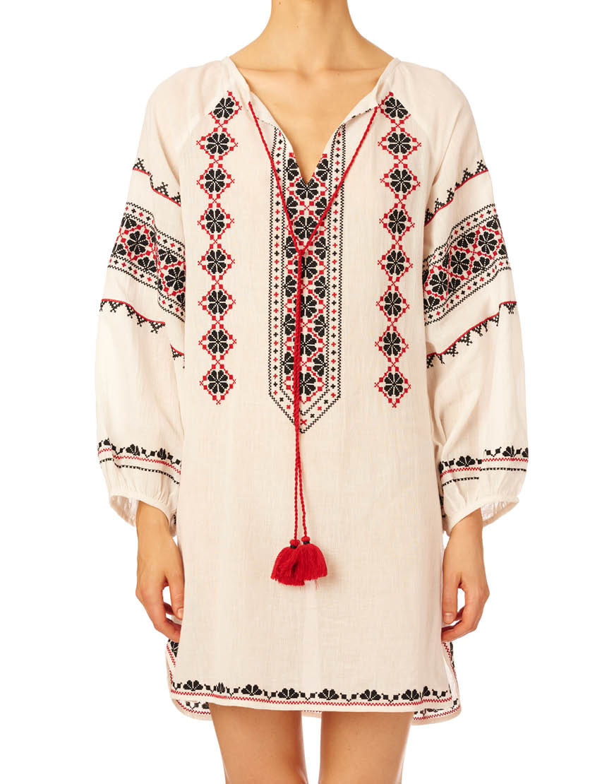 Star Mela mayra-tunic-ecru-red
