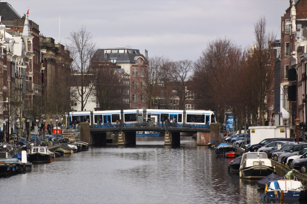amsterdam tram over canal