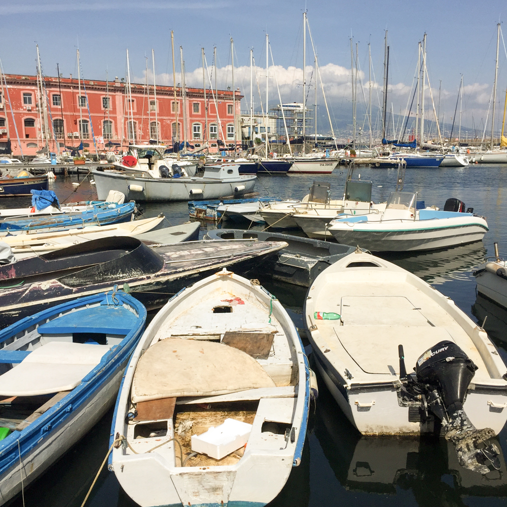 napoli, boats, harbor, port, vesuvius