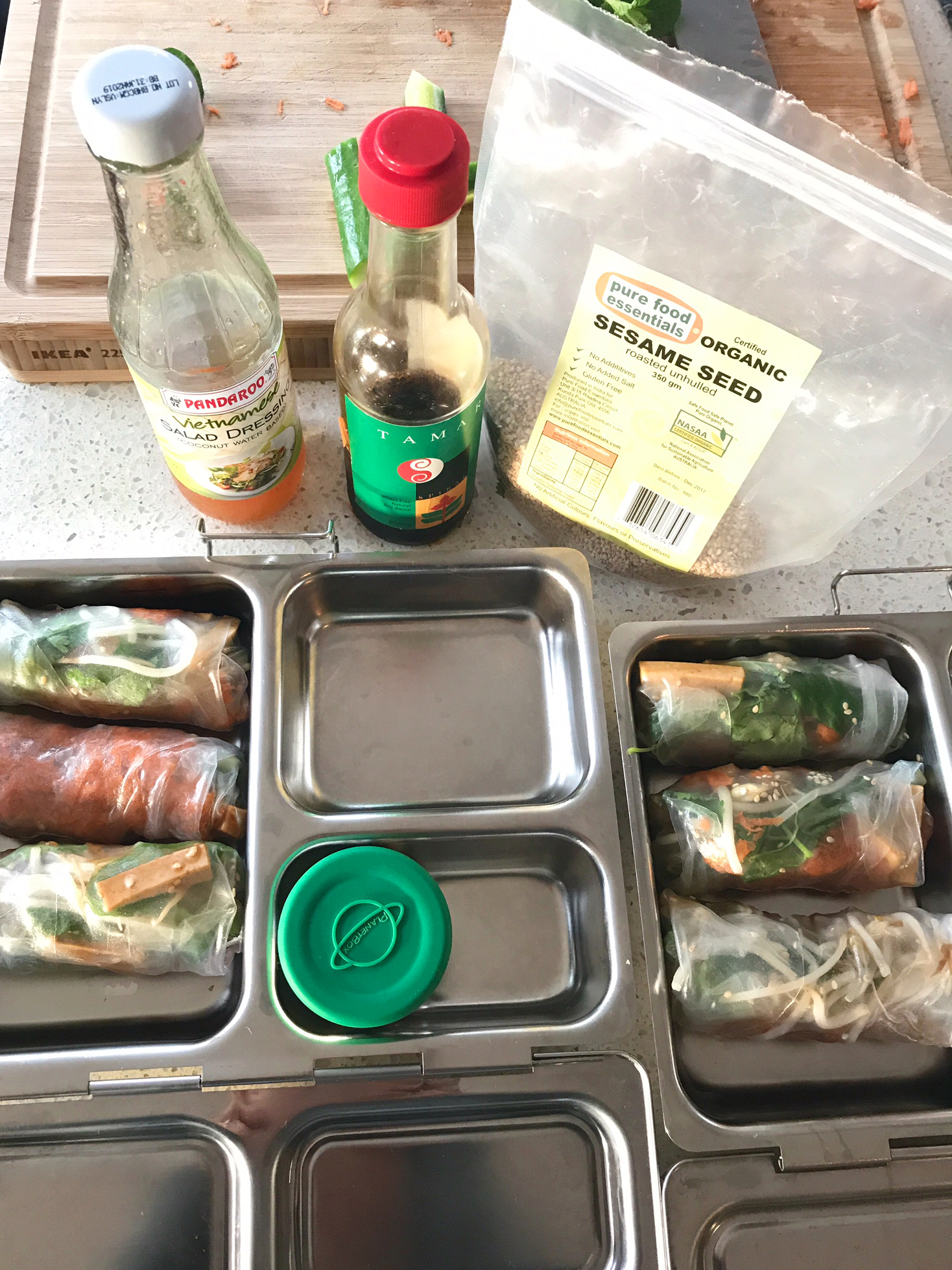 vietnamese summer rolls in lunchboxes