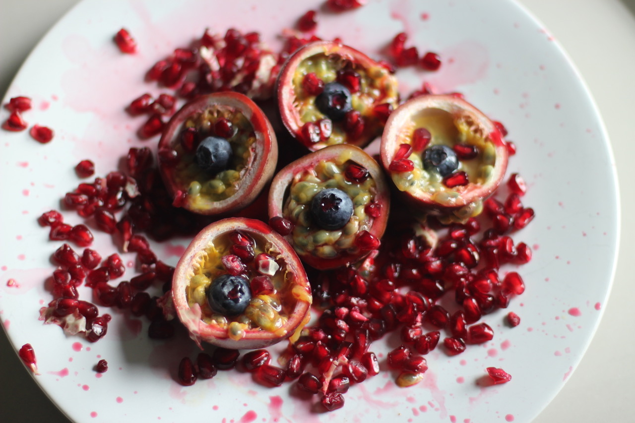 These Passionfruit And Blueberry Eyeballs Were Pretty Gory But Yummy Too Pomegranate Adds To The Drama