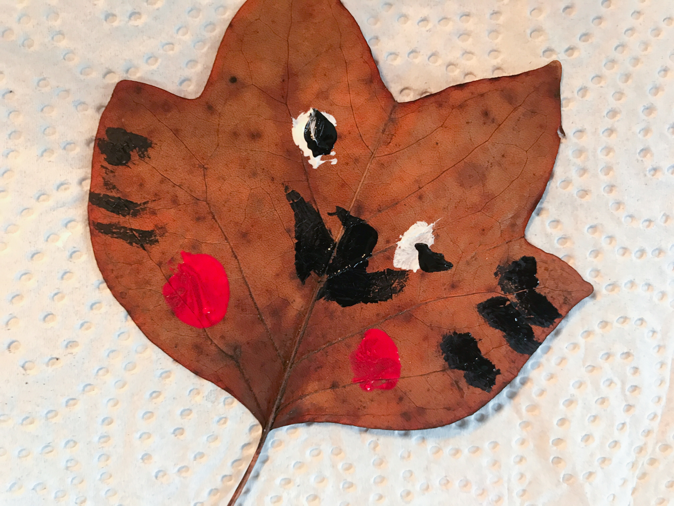 autumn birthday party, painted leaves