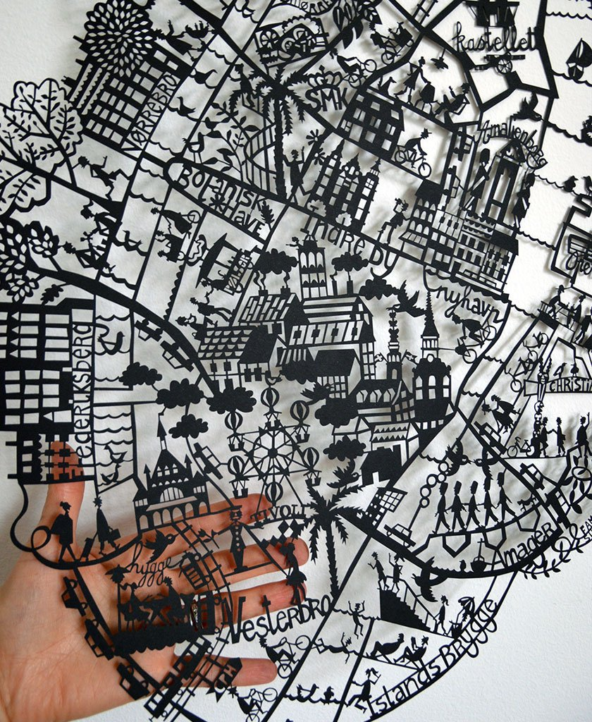paper cut map of Copenhagen