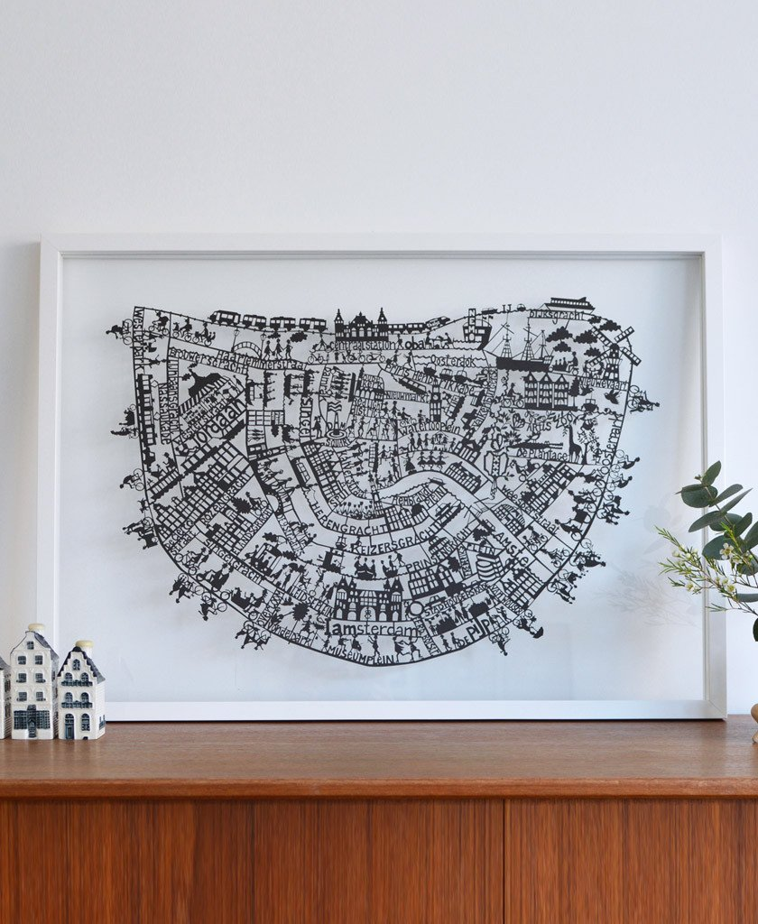 paper cut map of amsterdam