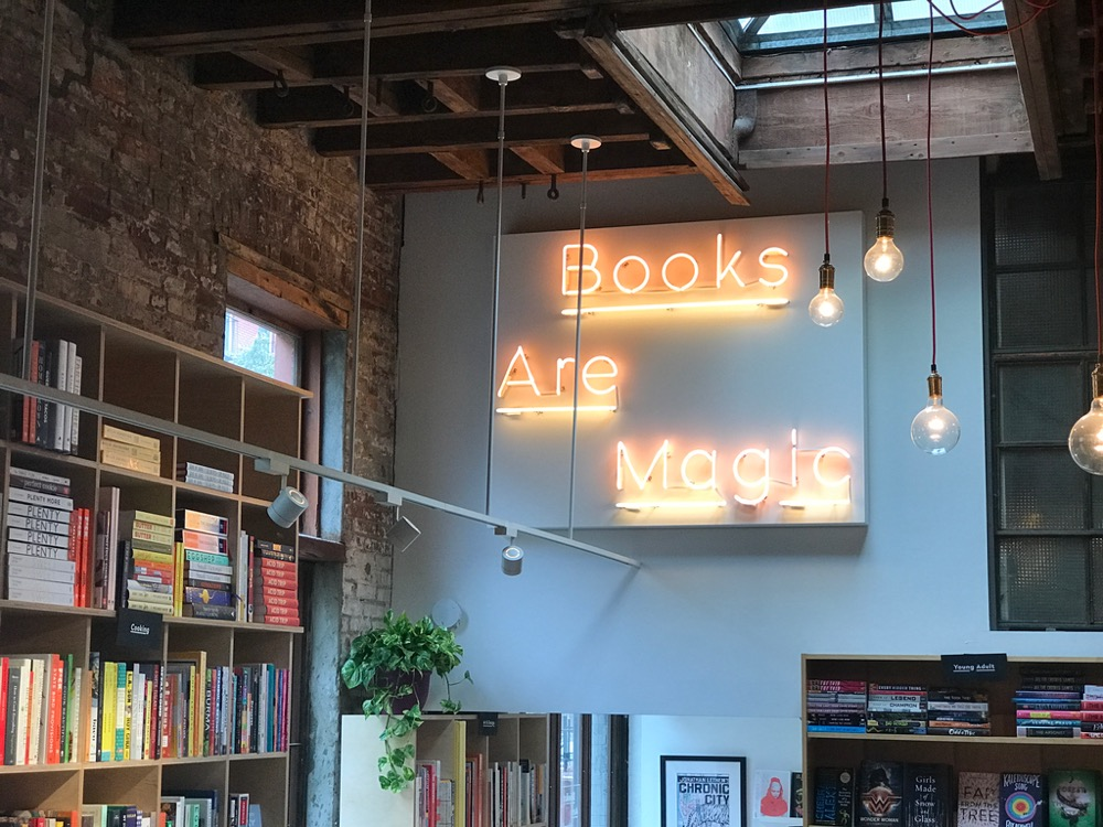 Neon sign in bookstore