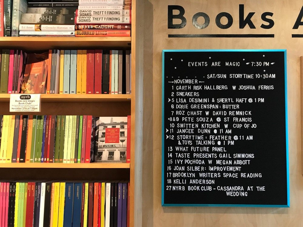 Upcoming events list in bookstore