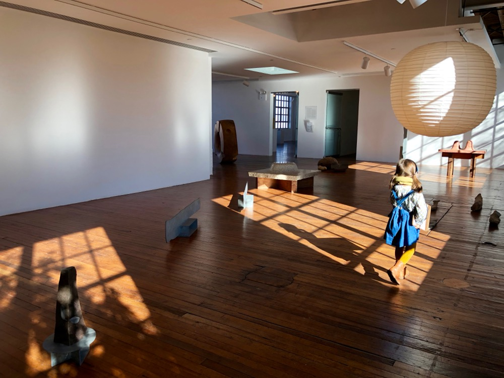 sunlight in the gallery at Noguchi Museum