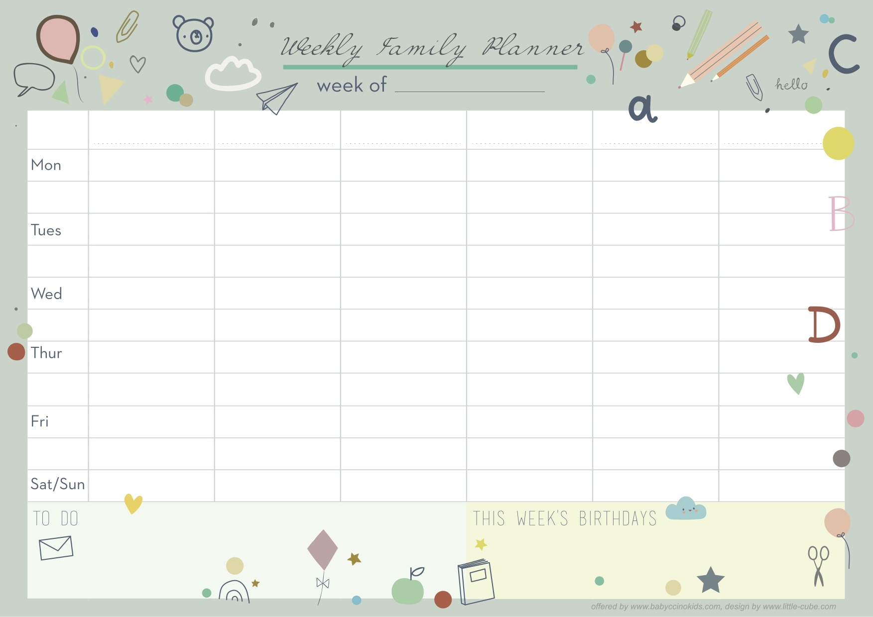 Weekly Planner by Babyccino