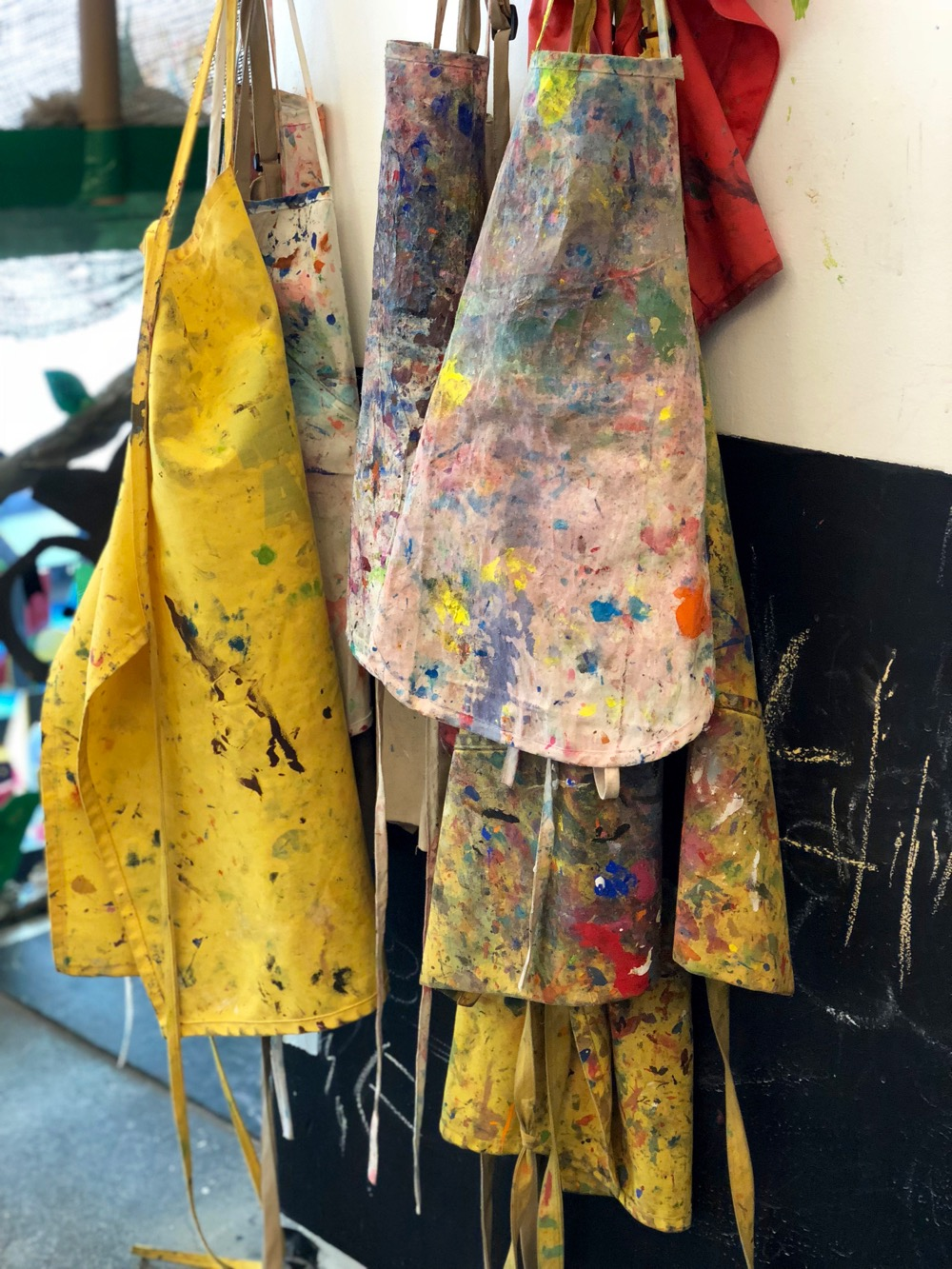 smocks in the painting studio