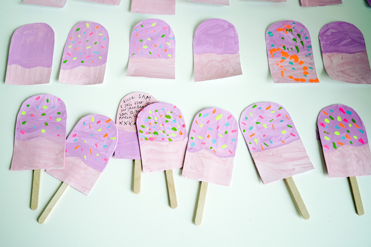 Ice-cream birthday party invitations