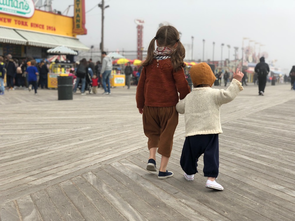 Foggy boardwalk at Coney Island