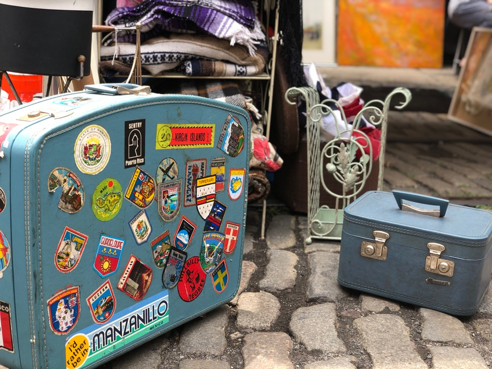 vintage suitcases at the Brooklyn Flea
