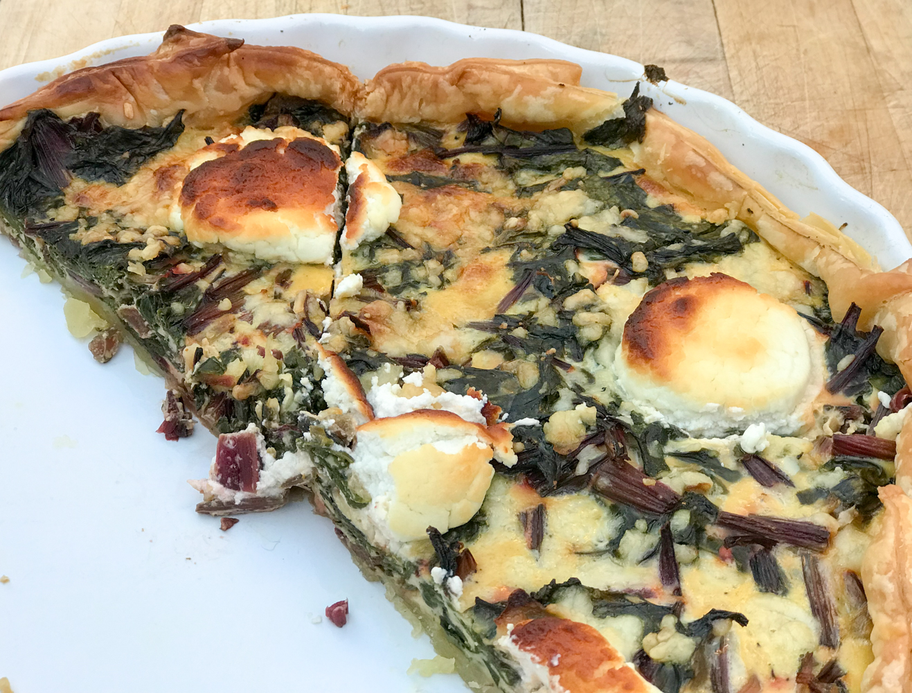 quiche of red beet greens