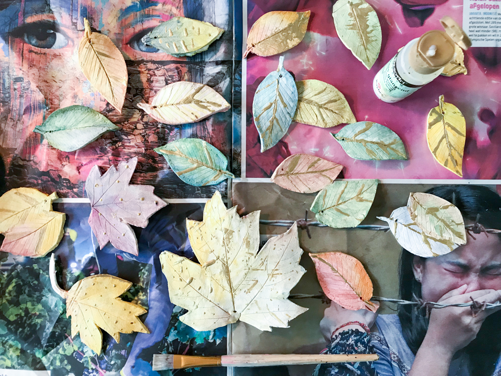 pressed paper clay leaves