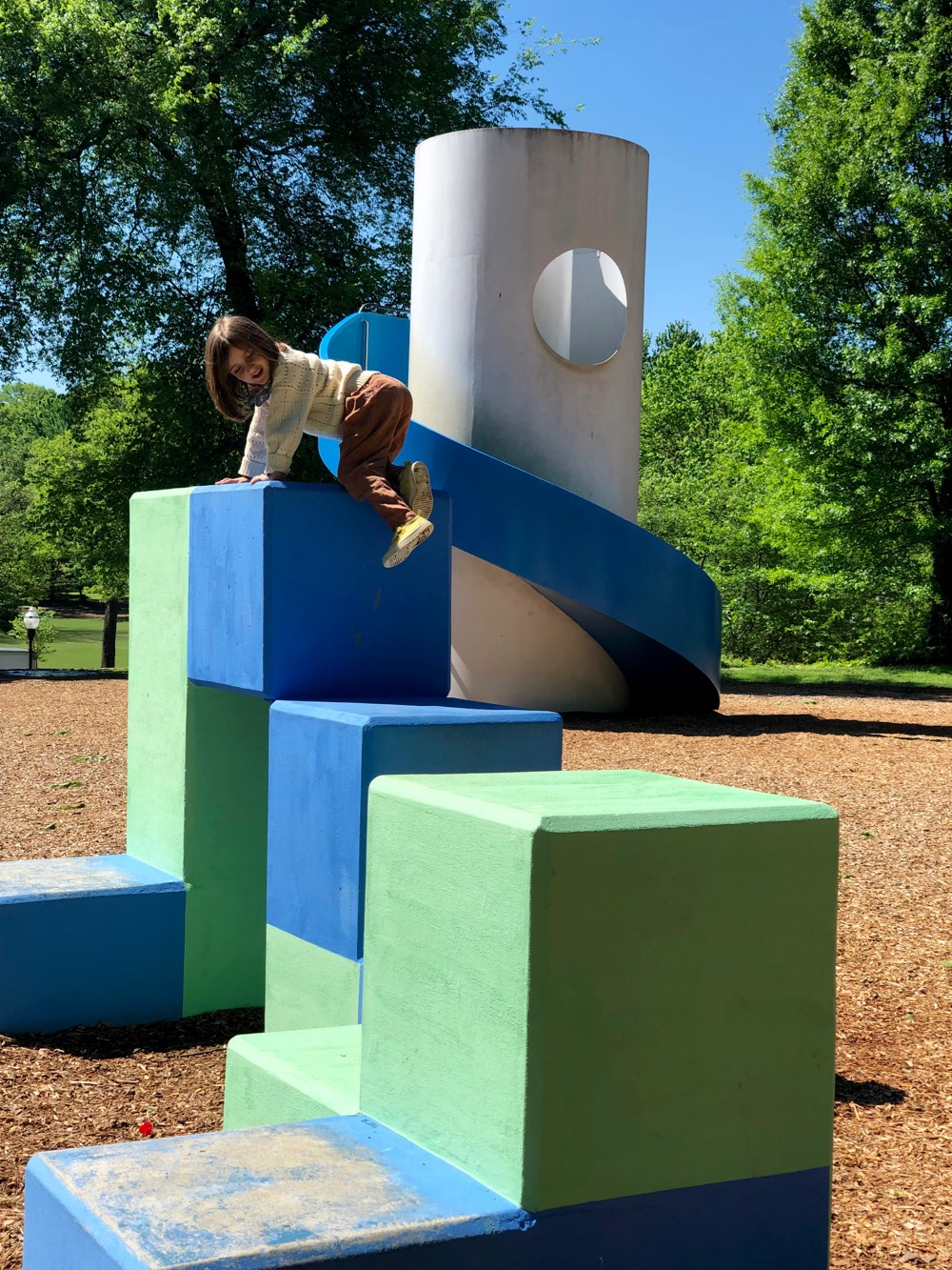 Climbing blocks at Noguchi's Playscapes