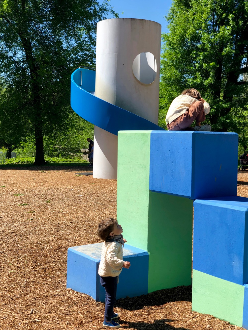 Two children on the climbing blocks at Noguchi's Playscapes