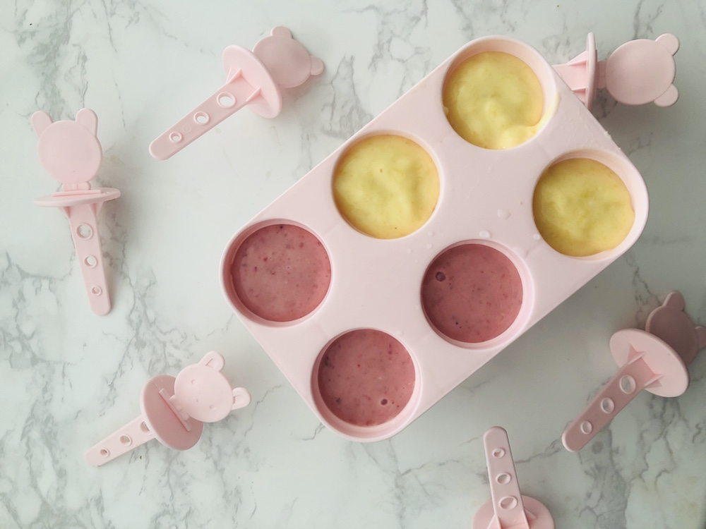 smoothie lollies ready to freeze