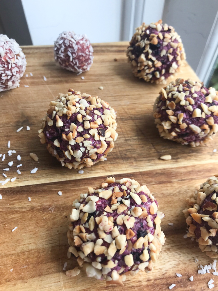 "fruity protein ""cake"" balls"