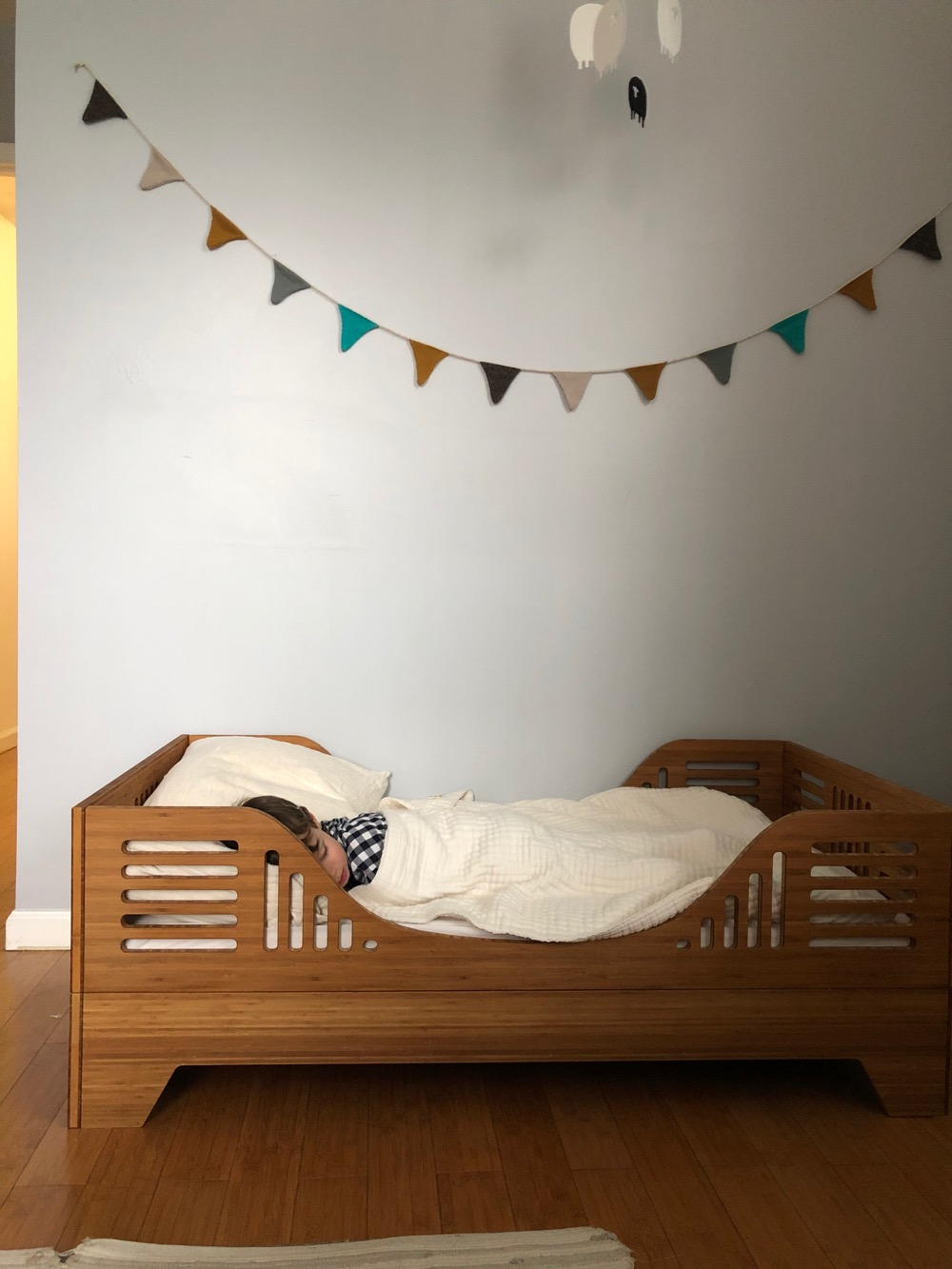 Toddler sleeping in his new bed