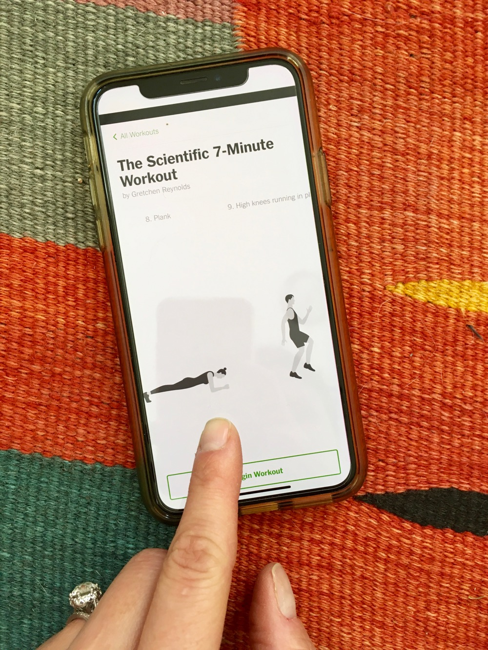 iPhone showing exercises contained in a 7-minute workout