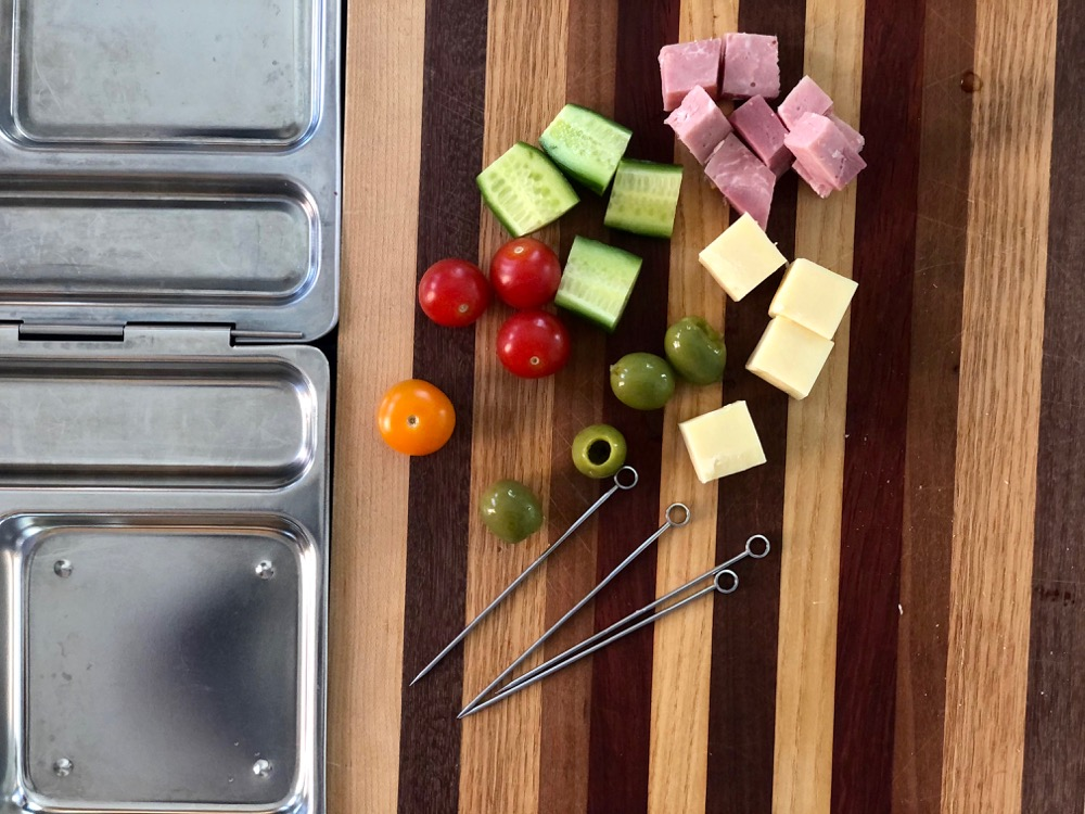 ingredients waiting to be assembled onto a lunchbox skewer