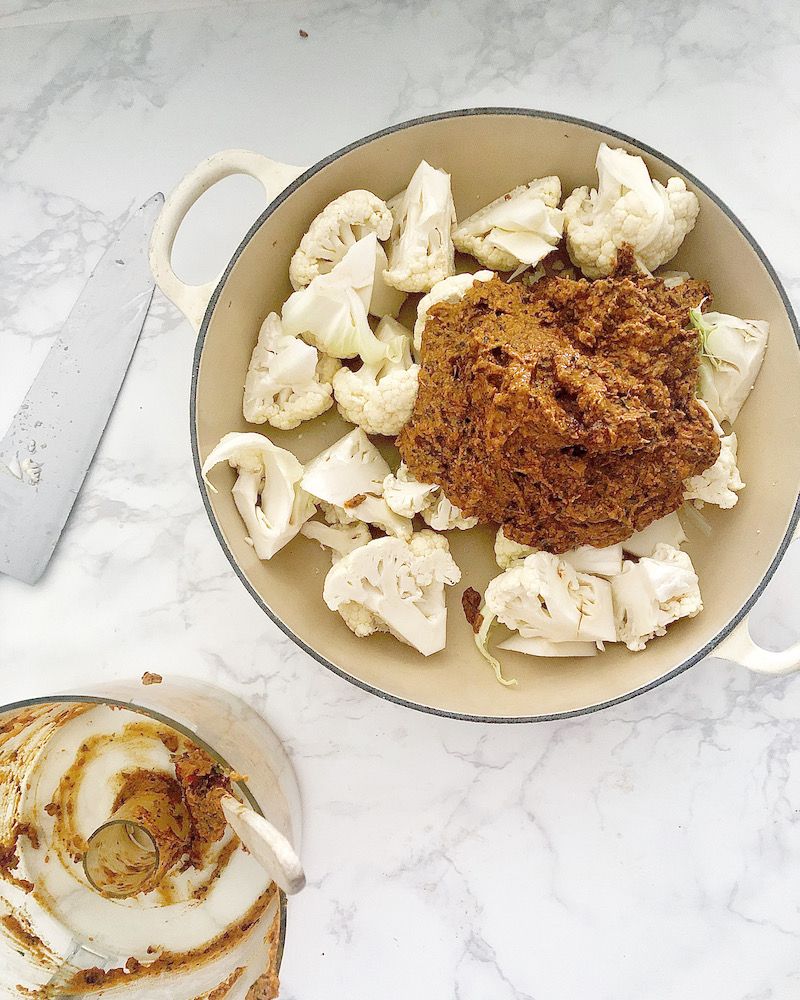 cauliflower and curry paste