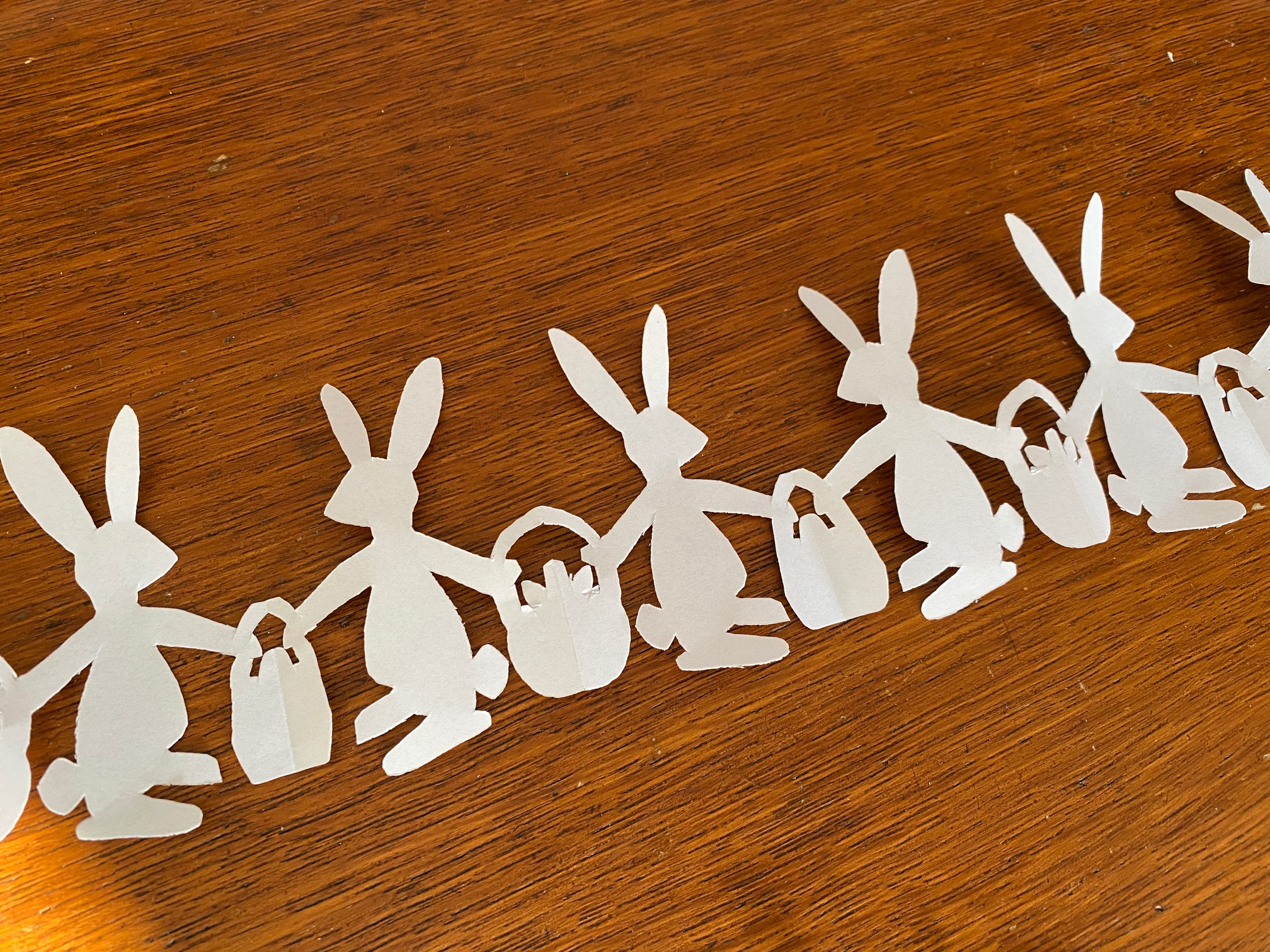 paper doll chain easter bunny
